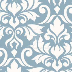 Flourish Damask Art I Cream on Blue by NatPaskell