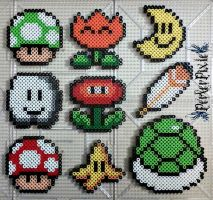 Mario Power Up Items by PerlerPixie