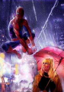 Spiderman and Gwen Stacey foggy Times Square by keithid