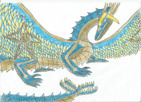 Lucy Heartfillia The Blue And Gold Dragon Queen by smaugthegolden123