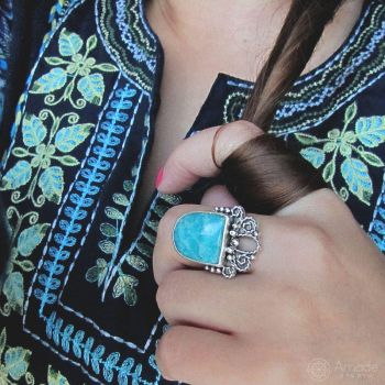 Amade Oriental Amazonite Ring On Hand by ggagatka