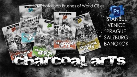 Charcoal Arts Photoshop Brushes of World Cities by shadedancer619