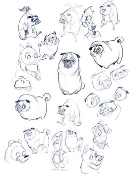 Pug doodles by PassiveSnack