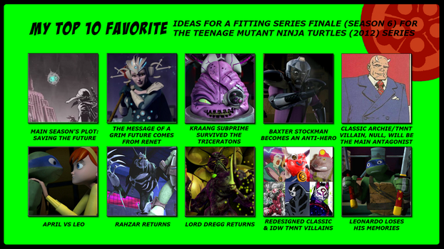 Top 10 Ideas for Series Finale (S06) of TMNT 2012 by 4xEyes1987