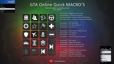 GTA Online Quick MACROS - For AutoHotkey by StArL0rd84