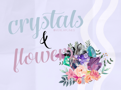Crystals + Flowers PNG PACK by overlaplines