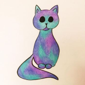 Galaxy Cat Colored Pencil Doodle by LuthienArtist