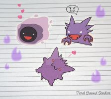 Gastly/Haunter/Gengar Stickers by pixelboundstudios