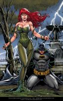 Poison Ivy and Batman By Marcio  Abreu Blue ver. by Kristherion