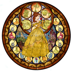 Princess Belle - Kingdom Hearts Stain Glass by reginaac57