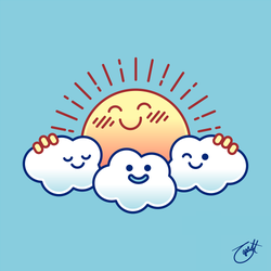 Group Hug (Sun and Clouds) by knitetgantt