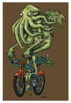 Cthulhu on a Bicycle - Color by Kennon9