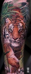 Realistic Colored Tiger Tattoo by Remistattoo