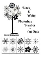 Black And White Flower Brushes Plus Cutouts by ibjennyjenny
