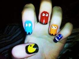 Pacman Nail Art by Chelseapoops