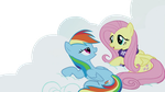 Fluttershy and Rainbow Dash on the cloud by nejcrozi