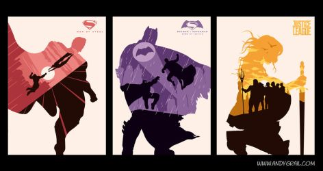 Superman Batman Wonder Woman Posters by Andy Grail by abonny