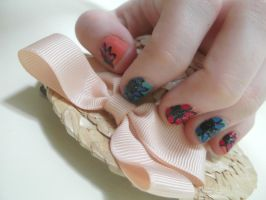 Blue and Pink Spring Flower nails by RoxysSlushPuppie