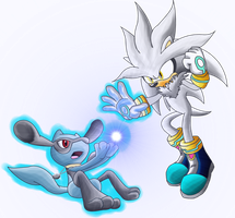 Isamu the Riolu Vs Silver by shadowhatesomochao
