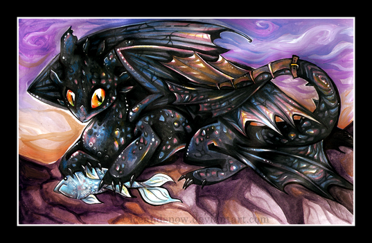 Toothless likes fish. by IceandSnow