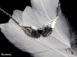 'Flying heart', handmade sterling silver necklace by seralune