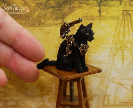 Miniature Steampunk Cat Sculpture by Pajutee