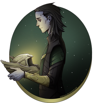Loki: Holding the Thor's helmet by Kibbitzer