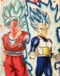 Goku SSBX10 Kaioken and Vegeta Ultra Blue  by MosakeJarakio