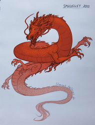 Smaugust #17 - Chinese Dragon by Floverale-Hellewen