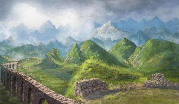 Mountain view from the ruins of the fortress by NoinHvainHtain