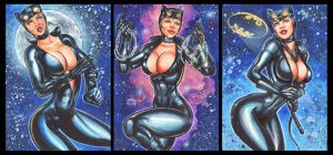 CATWOMAN PERSONAL SKETCH CARDS 9-2014 by AHochrein2010