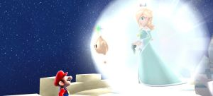 Rosalina and Mario meet by Rosalina-Luma