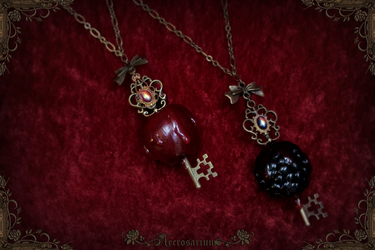 Skeleton Fruit Key Necklaces by Necrosarium