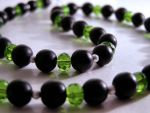 Necklace: Green and Black by LissaMonster