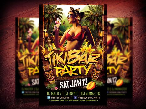 Tiki Bar Party Flyer PSD by Industrykidz