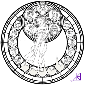 Giselle Stained Glass -line art- by Akili-Amethyst