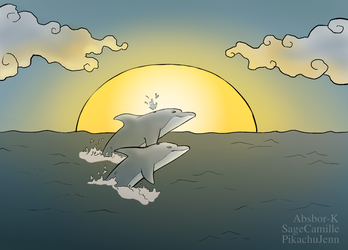 Evening Dolphins by PikachuJenn