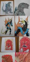 Kaiju art dump (both old and new) by Silver-Ray