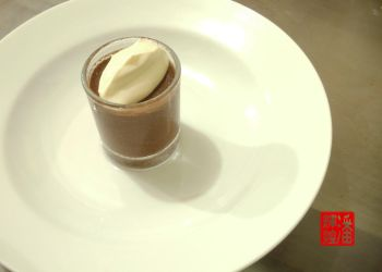 Chocolate Mousse in Shot Glass Topped with Cream by eddypua