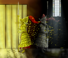 Dragonslayer Ornstein and Old Dragonslayer by deKora01