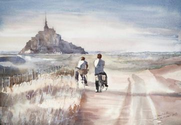 Kids from Mont St. Michel, 36x51cm by NiceMinD