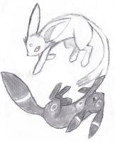 Umbreon and Espeon by Latofoot