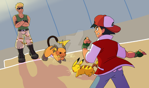 Ash VS Surge, Once More! by figwine