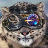 Steampunk Snow Leopard Icon by Scubacat17
