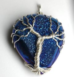 Blue Druzy Agate Wire Wrapped Tree of Life Pendant by LoneWolfjewelry