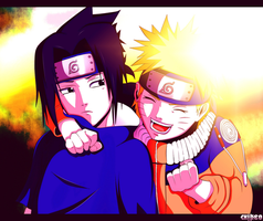Naruto and Sasuke... Friends :) by suiken22