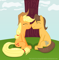 Caramel and Applejack sitting under a tree... by Taco-Bandit