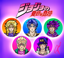 JoJo's Bizare adventure badge set! by Blue-Fayt