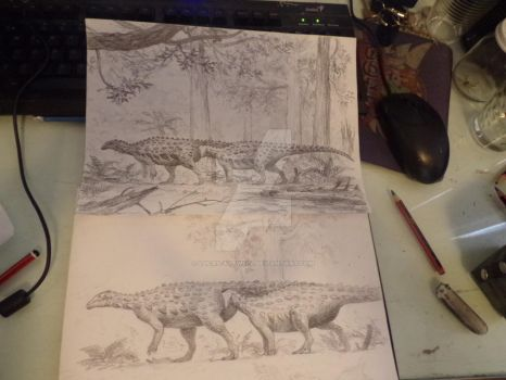 Emausaurus, two versions by Lucas-Attwell
