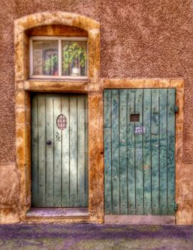 Two doors and one window